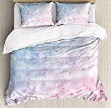 Ambesonne Marble Print Duvet Cover Set, Pastel Toned Cloudy Crack Lines Stained Antique Shabby Design, Decorative 3 Piece Bedding Set with 2 Pillow Shams, Queen Size, Pale Blue Baby Pink