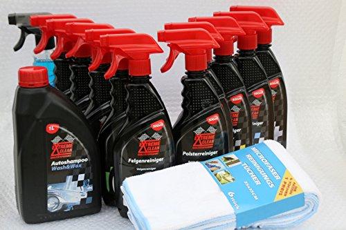 Autopflege - MEGA Power SET- 10 Fl. für  Aussen und Innen und 6 Microfasertücher