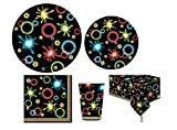 Serves 30   Complete Party Pack   Neon Glow Party Supplies   9' Dinner Paper Plates   7' Dessert Paper Plates   9 oz Cups   3 Ply Napkins   1 Table Cover Size: 54' x 108'   Neon Glow Party Theme
