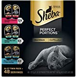 SHEBA PERFECT PORTIONS Soft Wet Cat Food Cuts in Gravy Gourmet Salmon, Signature Tuna, Delicate Whitefish & Tuna Entrées Variety Pack, (24) 2.6 oz. Easy Peel Twin-Pack Trays