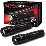 GearLight LED Tactical Flashlight S1000 [2 Pack] - High Lumen, Zoomable, 5 Modes, Water Resistant Light - Camping… 8 Ultra Bright & Long-lasting - Easily light up an entire room or focus in on objects up to 1000 feet away! 10 times brighter than old incandescent lights. Conveniently powered for hours with 3 AAA batteries or a single rechargeable battery. (Batteries are not included) Compact, Adjustable Focus, & Five Modes - 5 Useful Setting and wide-to-narrow beam zoom makes it ideal for use around the house, dog walking, or camping. It is compact enough to fit in your pocket, backpack, or purse allowing for easy storage and quick access. Water Resistant & Virtually Indestructible - Built for rough handling, this flashlight can survive a 10-foot drop or being temporarily submerged under water. You can even freeze it or run it over with a truck, and it will still work! Suitable for use in rain, snow, or emergency situations.