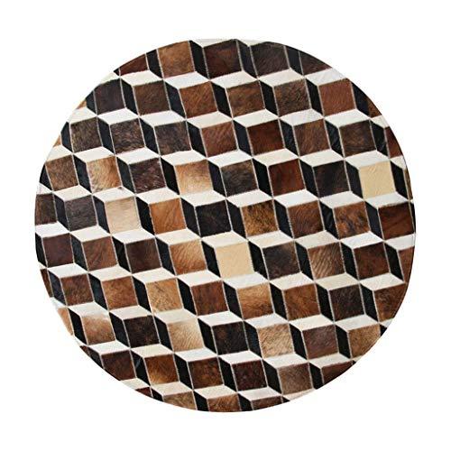 Dagelijkse uitrusting Handgemaakte koeienhuid ronde vloerkleed slaapkamer computer draaistoel studie mute Tapijt antislip salontafel mat geschenk (kleur: BRUIN Maat: D: 120CM)