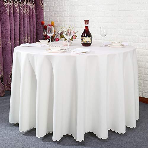 CNZXCO Gruesas Color sólido Paño de Tabla Lavable, A Prueba de Calor Tapete de Mesa Cubierta Hotel Iglesias y los budistas Reunión Partido Restaurante, Lavable-Arroz Blanco Diameter:260cm(102inch)