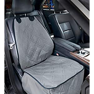 Bulldogology Front Seat Cover for Dogs – 100% Waterproof Heavy Duty Scratch Durability, Nonslip Backing, Quilted, Padded, Pet Seat Covers for Cars, Trucks, Vans, and SUVs (Grey)