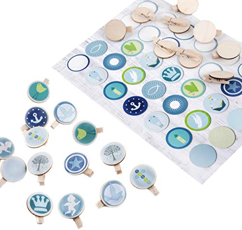 Logbuch-Verlag Juego de 35 pegatinas azules y verdes con símbolos cristianos + 36 pinzas de madera de 3,2 cm – Decoración de mesa regalo bautizo comunión nacimiento