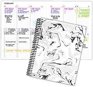 "bloom daily planners Undated Dot Journaling Calendar Planner - Essential Weekly/Monthly Grid Style Agenda Book (7"" x 9"") - Black Marble"