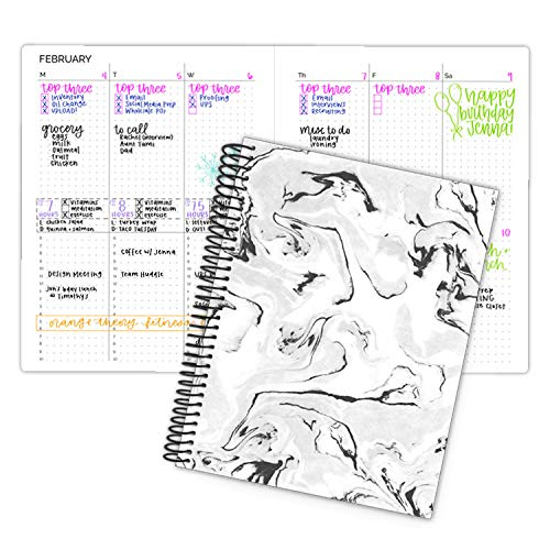 bloom daily planners Undated Dot Journaling Calendar Planner - Essential Weekly/Monthly Grid Style Agenda Book (7' x 9') - Black Marble