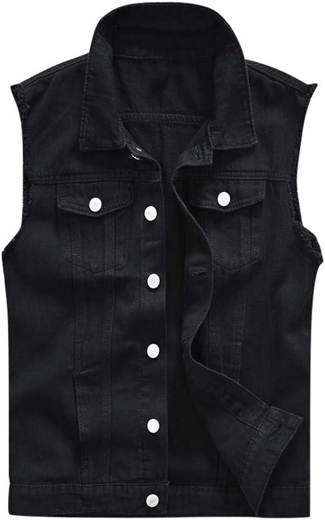 GREFER-Mens Mens Plus Size Vests 2019 New Denim Coats Fashion Pockets Button Sleeveless Outwear Jacket Black