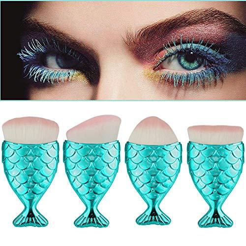 MEIYY Pinceau De Maquillage 4Pcs Échelle De Poisson Bleu Pinceau De Maquillage Queue De Poisson Pinceau Pinceau Poudre Blush Maquillage Pinceaux Cosmétiques Outil # 2656