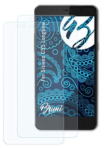 Bruni Schutzfolie kompatibel mit Siswoo C55 Longbow Folie, glasklare Bildschirmschutzfolie (2X)