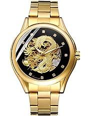 BesTn出品 腕時計 メンズ 自動巻き ドラゴン 龍 スケルトン ダイヤモンド 防水 夜光 ステンレスバンド ゴールド