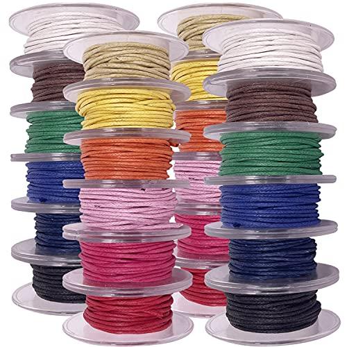 24 Rollos Cordón Encerado 1.5 mm 8 metros Hilo para Pulsera y Colgantes, Hilo para Manualidad. Cordón para Colgantes.