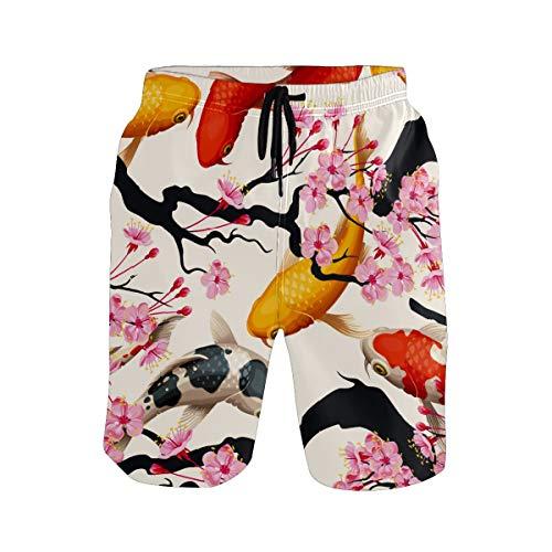 水着 メンズ 金魚 桜 春 ビーチパンツ サーフパンツ 水陸両用 速乾 旅行 短いパンツ 海水パンツ パンツ 耐久性 着心地 メッシュインナー付き ポケット スイミング 運動 マリンスポーツXL