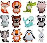 12 Pcs Jungle Safari Animal Balloons , 16 x 18 Inches Animal Balloons for Boys and Girls Jungle Zoo Animal Theme Party Decorations (Balloons)