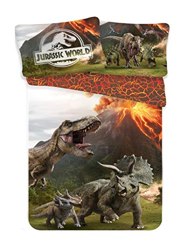 Jurassic World, Juego de Ropa de Cama, Funda de Edredón 140 x 200 cm y Funda de Almohada 70 x 90 cm, 100% Algodón, Diseño de Dinosaurios