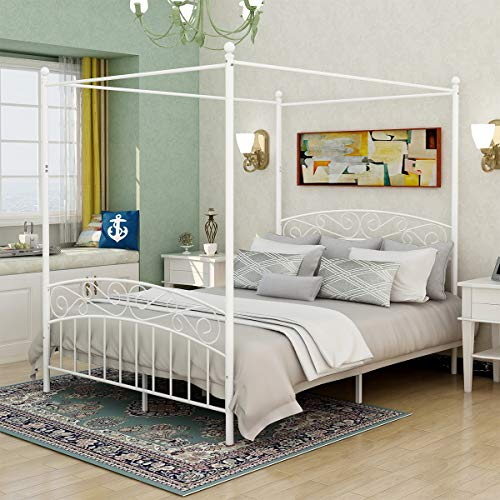 Deluxe Design Queen Size Metal Canopy Bed Frame with Ornate European Style Headboard & Footboard Sturdy Steel Easy DIY Assembly White
