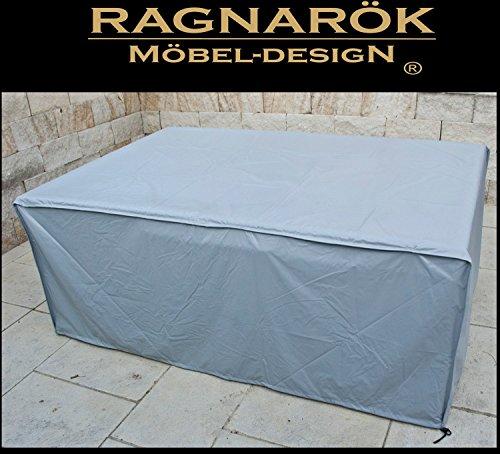 Ragnarök-Möbeldesign Schutzabdeckung Gartenmöbel Schutzhülle für Modell HEIMDALL 8+4 Husse schwere LKW Plane Maßgefertigt Wetterschutz Abdeckung Abdeckhaube