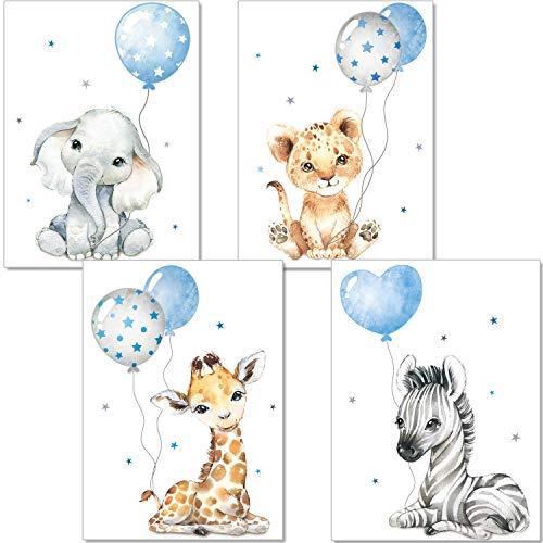 artpin® Bilder Kinderzimmer - DIN A4 Poster Tiere Babyzimmer- Safari Afrika Wandbilder Deko Junge Mädchen- Grau Blau Luftballon P67