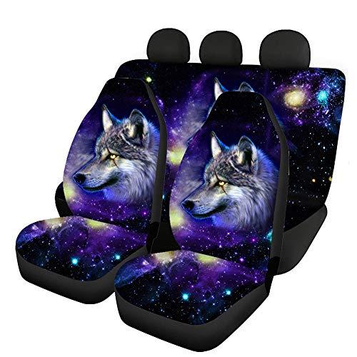 Hugs Idea Ensemble complet de housses de siège avant et arrière en polyester - Motif floral, animalier et galactique - Ajustement universel