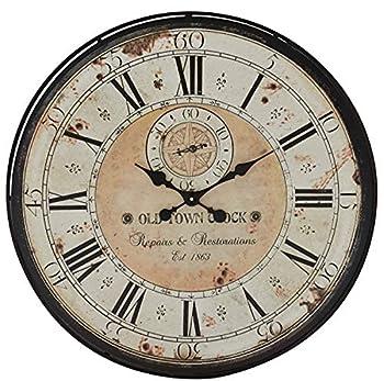 Deco 79 Round Rustic Black Iron & Wood Antique Roman Numeral Wall Clock 32