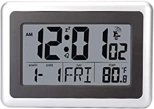 Riiai LCD Digital Wall Clock Alarm Desk Temperature Home Large Display Indoor Outdoor(7 Languages)