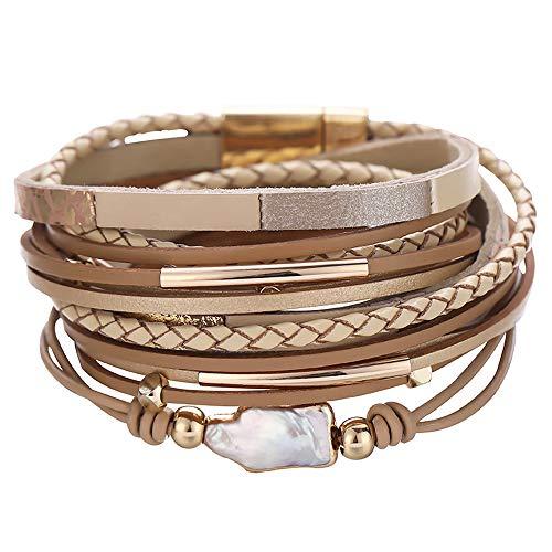 AZORA Pulsera de cuero para mujer barroco perla tono oro tubo brazalete pulsera leopardo estampado casual pulsera de muñeca de cuero para niñas adolescentes regalo