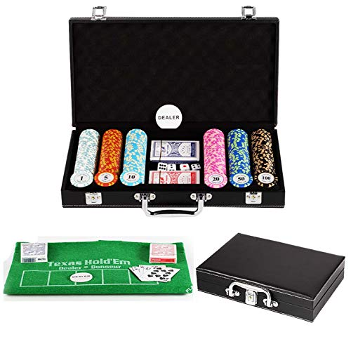 Bueuwe Casino Poker Chip Set Poker Set with Leather Suitcase, 14 Gram Clay Chips for Texas Holdem Blackjack Gambling, High Grade Suitable for 3-11 People Use,300 pcs