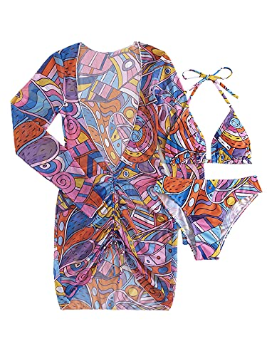 SOLY HUX Women's Printed Triangle Halter Bikini Bathing Suit with Cover Up 3 Piece Swimsuits Multicoloured L