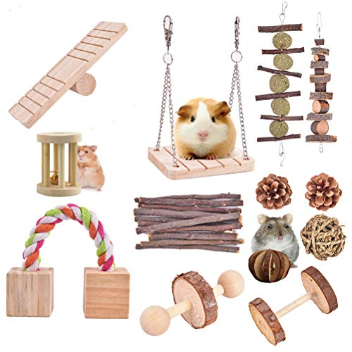 13 PCS Hamster Chew Toys, Natural Wooden Pine Guinea Pigs Rats Chinchillas Toys Accessories Suitable for Rabbits Gerbils Small Pets Accessories Chewing and Playing Exercise Teeth Care Molar Toy