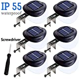 Solar Gutter Lights Outdoor,LED Solar Fence Lights,Waterproof Wall light Wireless Security Night Light with screwdriver for Eaves,Garden,Wall,Attic,Walkway,Driveway,Deck,Stairs(6pcs, Cool White)