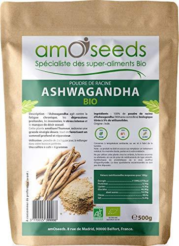 Ashwagandha en Poudre Bio 500G | Anti-stress, Sommeil, Adaptogène | Qualité Supérieure