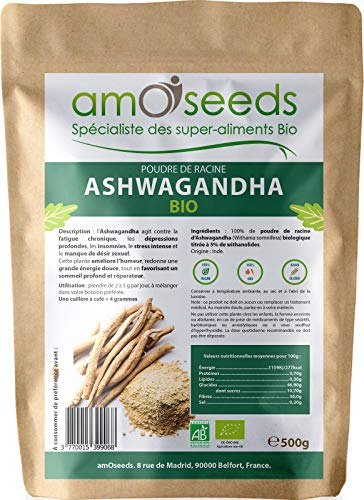 Ashwagandha en Poudre Bio 500G   5% withanolides   Anti-stress, Sommeil, Adaptogène   Qualité Supérieure