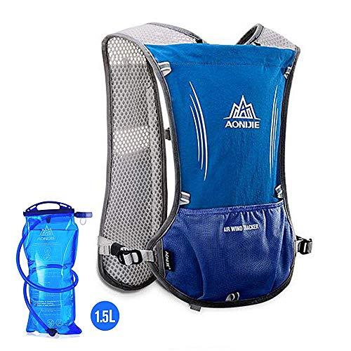 AONIJIE Hydration Pack Rucksack 5L Marathoner Running Race Hydration Weste Running Wandern Rucksack mit Hydration Pack, Blau, No Bladder