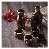 LUYIYI Set de cerámica Set Japonés Antiguo Creativo Conjunto 1x Botella de Vino Grande, 1x Botella de Vino pequeño, 4X Taza