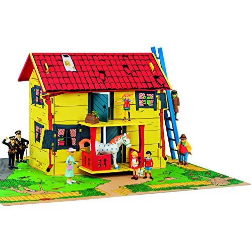 Micki & Friends 44-3753-00 - Pippi Langstrumpf Spielhaus in MDF Puppenhaus Villa Kunterbunt - Veranda - Garten - Selbstmontage - H/L/B: 75x59x37 cm - ab 3 Jahre