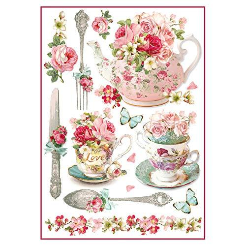 Stamperia Papel de arroz Tazas de té Florales, 21 x 29.7 cm, Multicolor