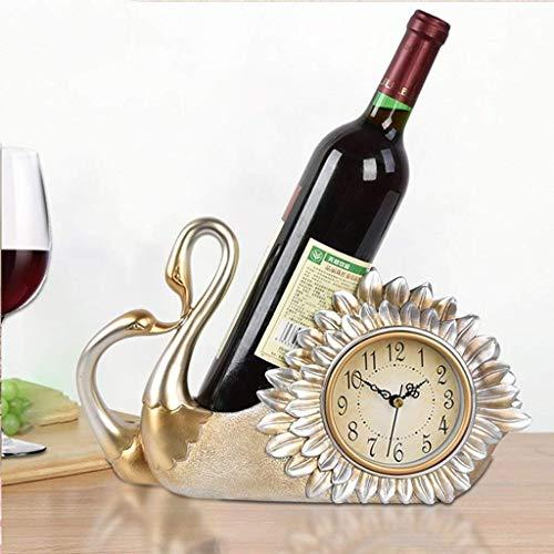 Manyao Titular Europea Estante del Vino del hogar del Reloj Sala Creativo decoración Estante del Vino, Estante del Vino, Botella Estante, Mute Reloj (Color: -, Tamaño: -)