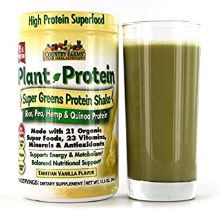 Country Farms, Plant Protein, Super Greens Protein Shake, Tahitian Vanilla Flavor, 2Pack (12.8 oz (364 g))
