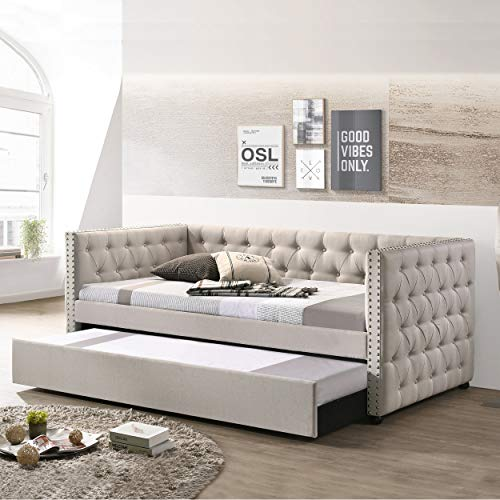 Daybed with A Trundle, HABITRIO Solid Wood Structure Beige Fabric Upholstered Twin Size Day Bed Frame w/Twin Roll-Out Trundle, No Box Spring Needed, Furniture for Bedroom, Living Room, Guest Room