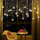 LED Curtain String Lights, 96 LED 3.5M Fairy Snowflake Lights, Christmas Lights 8 Flashing Modes,Waterproof Light for Christmas Window, Garden, Party, Patio Decoration (Warm White)