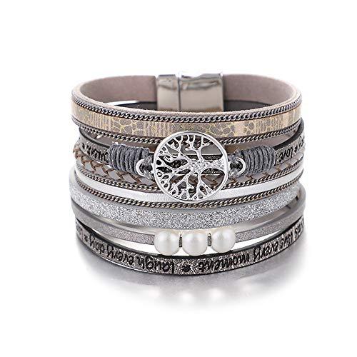 Bracelets de bracelet en cuir de l'arbre de vie de l'UEUC, brassard multicouche magnifique à la main de Boho avec boucle magnétique, bracelet décontracté pour femme et fille
