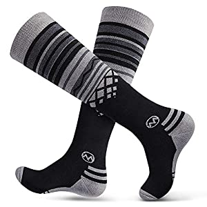 Ski Socks 2-Pack Merino Wool, Over The Calf (OTC) Non-Slip Cuff for Men & Women