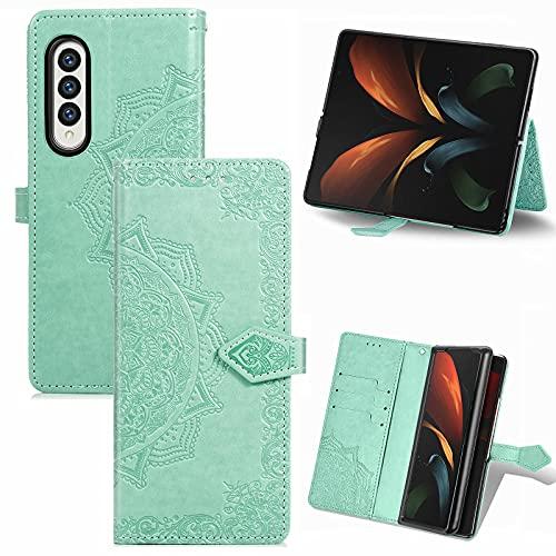 Wuzixi Hülle für Samsung Galaxy Z Fold 3 5G. [Kartenfach] PU Leder Flip Wallet, mit Standfunktion, Schutzhülle handyhüllen für Samsung Galaxy Z Fold 3 5G.Grün