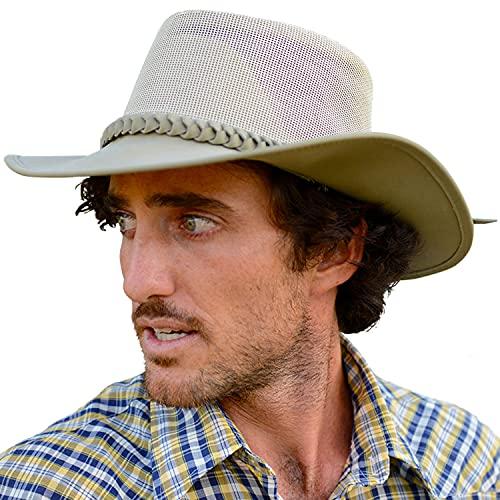 Conner Handmade Hats | Aussie Golf Soakable Mesh Hat, Soaker Chiller Hat with Mesh for Men - Sand, XXL