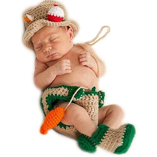 Newborn Photography Props Baby Photo Shoot Outfits Crochet Fishing Fisherman & Fish Hat Diaper Shoes