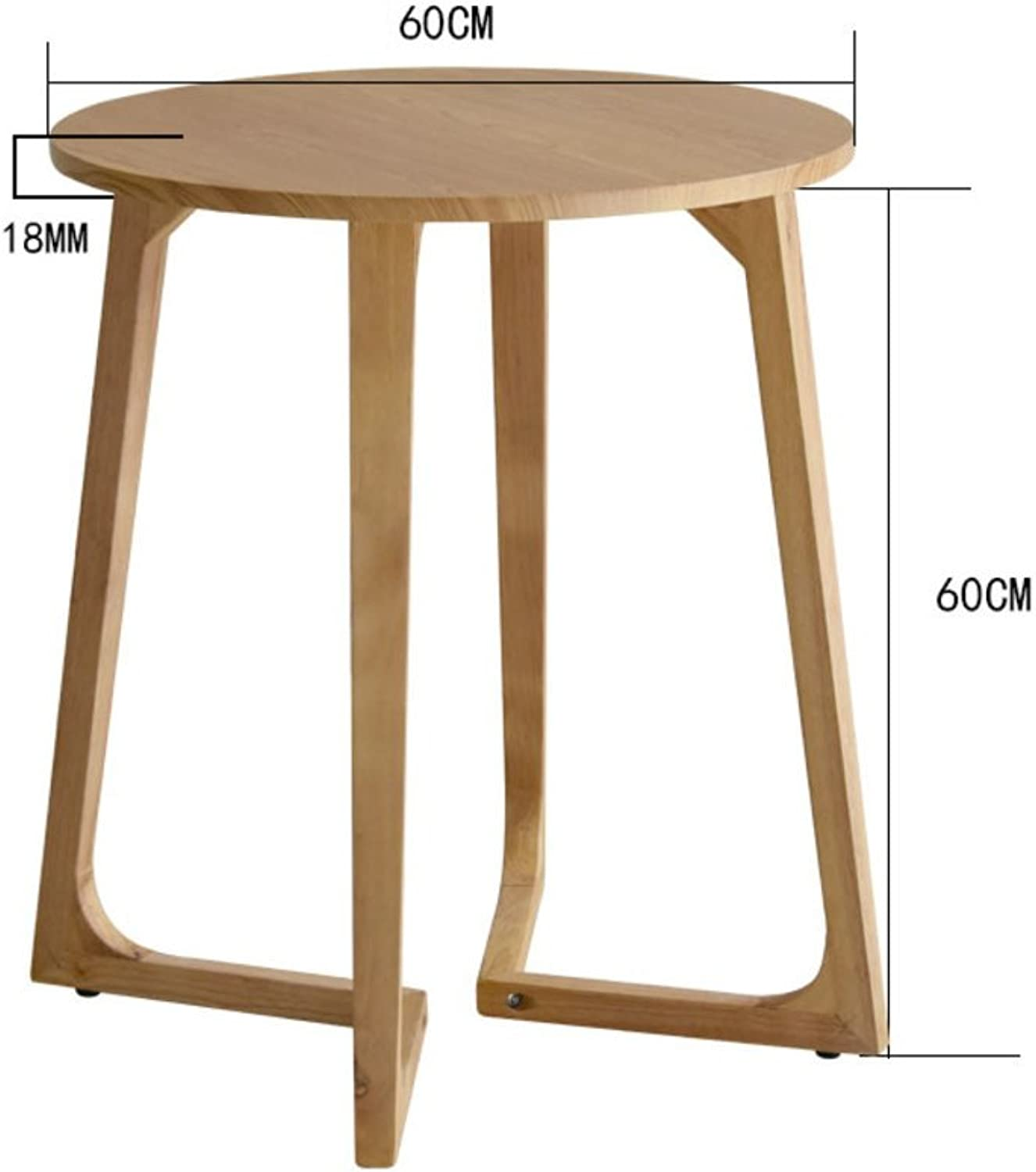 Solid Wood Waterproof Round Side Table, Living Room Sofa Table Coffee Table Bedroom Night Table Telephone Table-Log 60X60cm