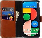 StilGut Talis kompatibel mit Google Pixel 4a 5G Hülle mit Kartenfach aus Leder, Flip Cover, Wallet Hülle, Lederhülle mit Fächern, Standfunktion und Verschluss - Cognac Antik