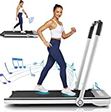 Borisdar 2 in 1 Folding Treadmill,2.25HP Under Desk Electric Treadmill with Bluetooth Speaker,Installation-Free,Running Machine Portable Treadmill for Running and Walking Exercise Home Gym(Silver)