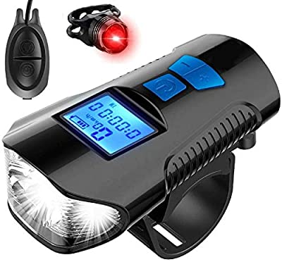 koeall Bike Light Set, Bicycle Headlight Taillight Speedometer Odometer for Bike, with Horn, USB Rechargeable Bike Tail Light and Front Light Set Cycle Head Light Fits All Mountain & Road Bike