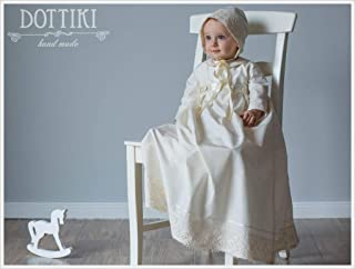 Baby Christening Romper with Detachable Skirt, Handmade Bapitsm Heirlomm Outfit